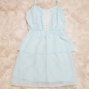 Laced ruffled shirt dress